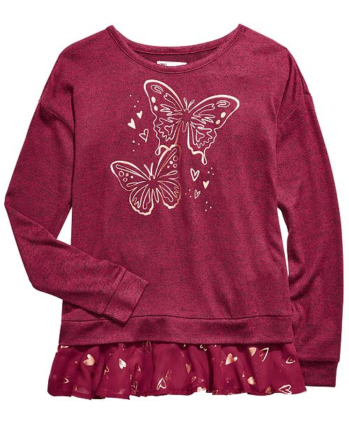 Epic Threads Big Girls Butterfly-Print Layered-Look Top, Created For Macy's