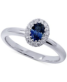 Sapphire (1/2 ct. t.w.) & Diamond (1/5 ct. t.w.) Oval Ring in 14k White Gold
