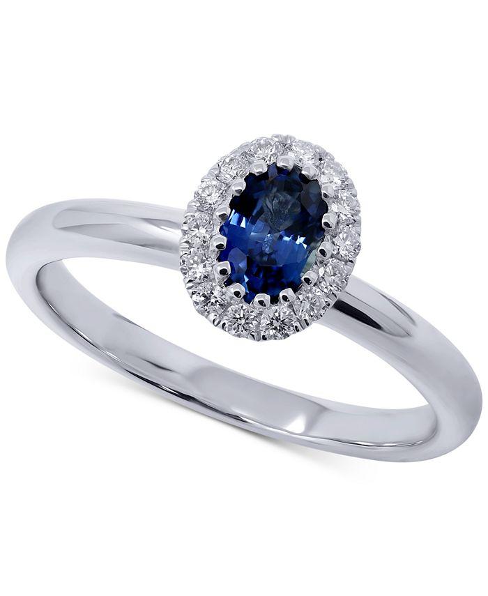 Macy's - Sapphire (1/2 ct. t.w.) & Diamond (1/5 ct. t.w.) Oval Ring in 14k White Gold