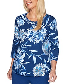 Sapphire Skies Dramatic Floral-Print Knit Top