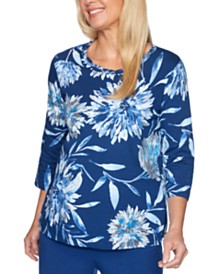 Alfred Dunner Sapphire Skies Dramatic Floral-Print Knit Top