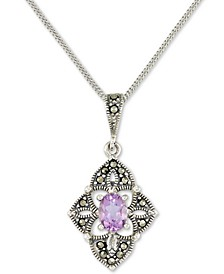 "Amethyst (1/2 ct. t.w.) &  Marcasite Flower 18"" Pendant Necklace in Sterling Silver"