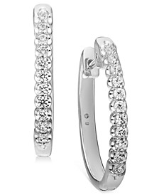 Diamond Small Hoop Earrings (1/2 ct. t.w.) in 10k White Gold (Also available in 10k Yellow Gold), .95""