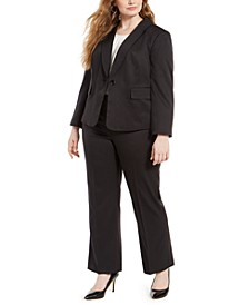 Plus Size Double-Pinstriped Pantsuit