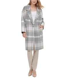 Calvin Klein Plaid Knit Coat