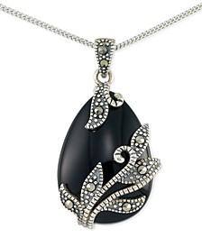 "Onyx (16 x 22 x 5mm) & Marcasite Teardrop 18"" Pendant Necklace in Sterling Silver"