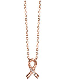 "Crystal Cancer Ribbon Pendant Necklace in Rose Gold-Plate, 16"" + 2"" extender"