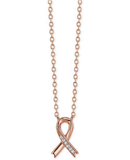 "Unwritten Crystal Cancer Ribbon Pendant Necklace in Rose Gold-Plate, 16"" + 2"" extender"