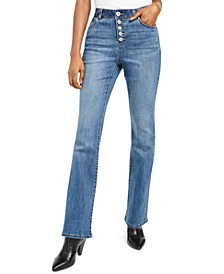 I.N.C. High Rise Curvy-Fit Button-Fly Bootcut Jeans, Created for Macy's