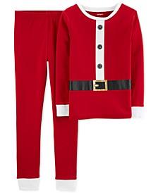 Little & Big Boys 2-Pc. Cotton Santa Suit Pajamas Set