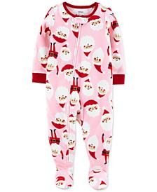 Toddler Girls 1-Pc. Santa Fleece Footie Pajamas