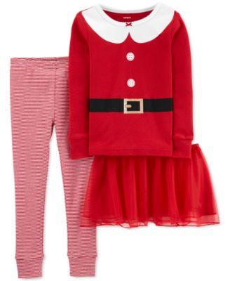 Toddler Girls 3-Pc. Santa Tutu Pajamas Set