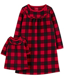 Toddler Girls 2-Pc. Buffalo Check & Matching Doll Nightgown