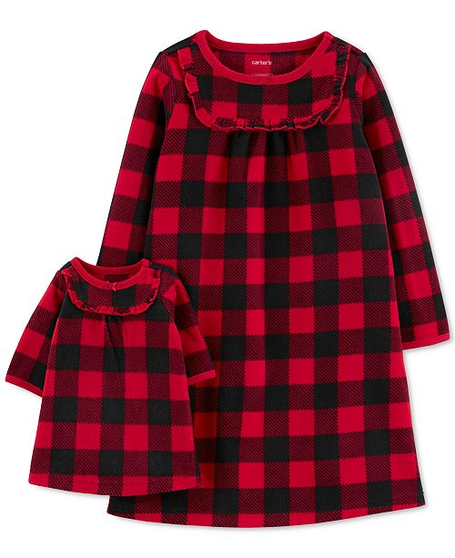 Carter's Toddler Girls 2-Pc. Buffalo Check & Matching Doll Nightgown