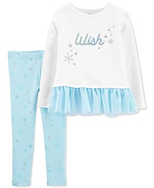Baby Girls 2-Pc. Dancer-Print Peplum Top & Snowflake-Print Leggings Set