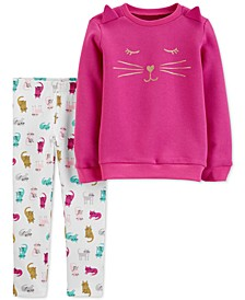 Baby Girls 2-Pc. Cat Fleece Sweatshirt & Leggings Set