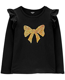 Big & Little Girls Flip-Sequin Bow Shirt