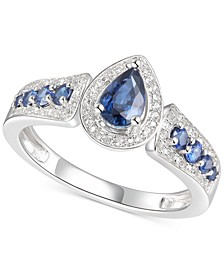 Sapphire (3/4 ct. t.w.) & Diamond (1/10 ct. t.w.) Pear Shaped Ring in Sterling Silver
