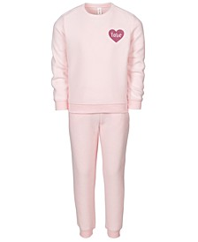 Little Girls 2-Pc. Love Fleece Sweatshirt & Pants Set, Created For Macy's