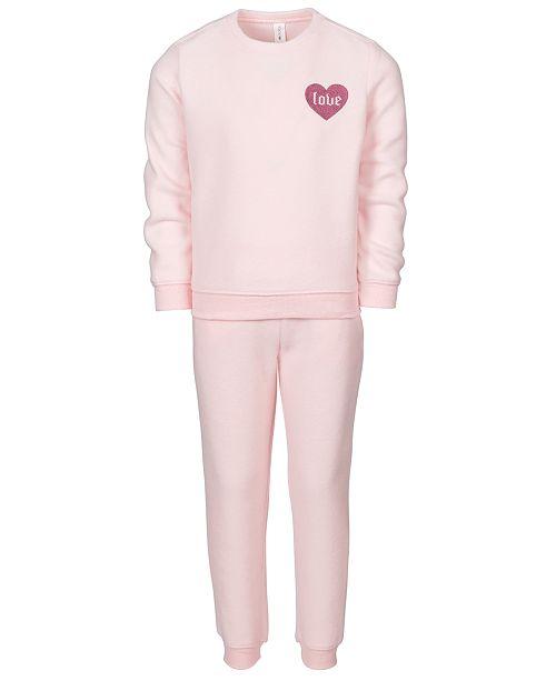 Ideology Little Girls 2-Pc. Love Fleece Sweatshirt & Pants Set, Created For Macy's