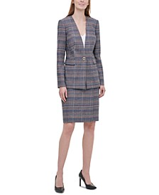 Petite Plaid Tweed Blazer, V-Neck Camisole & Tweed Pencil Skirt