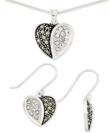 2-Pc. Set Marcasite & Crystal Heart Pendant Necklace & Matching Drop Earrings