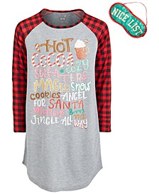Big Girls Buffalo-Check Holiday Nightgown & Eye Shade