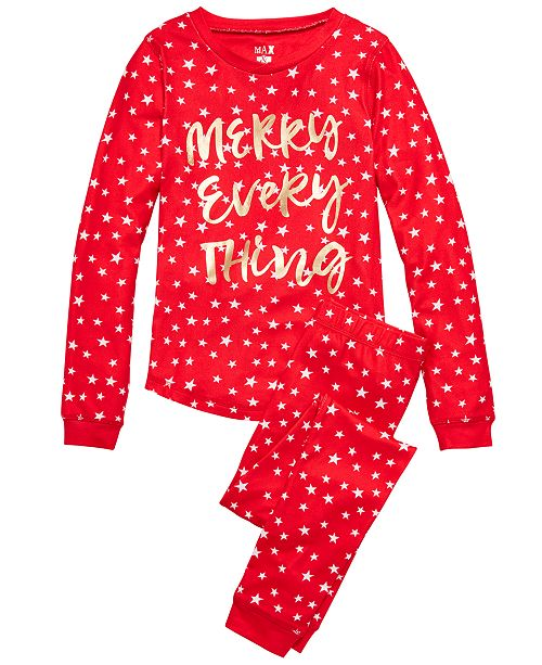 Max & Olivia Big Girls 2-Pc. Merry Everything Pajama Set