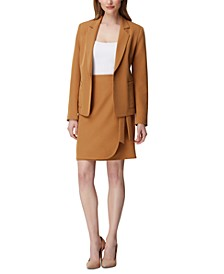 Petite Notch-Collar Jacket & Wrap Skirt