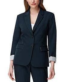 Roll-Cuff Notched-Lapel Blazer