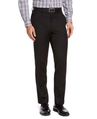 Men's Classic-Fit Black Solid Suit Pants
