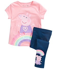 Little Girls 2-Pc. Feelings T-Shirt & Leggings Set
