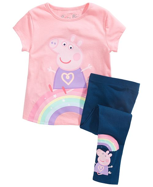Disney Peppa Pig Little Girls 2-Pc. Feelings T-Shirt & Leggings Set