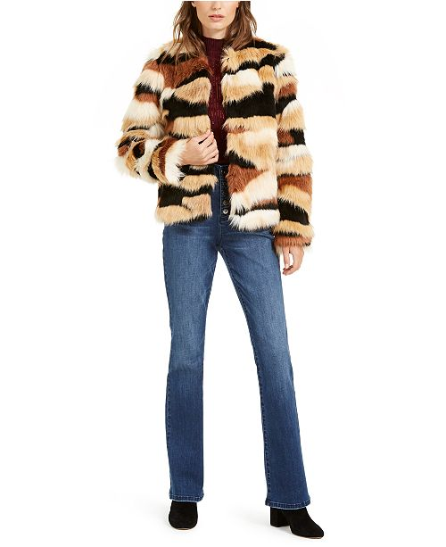 INC International Concepts I.N.C. Sequined Mock-Neck Top, Bootcut Jeans & Calico Faux-Fur Jacket, Created For Macy's