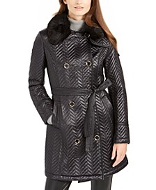 Double-Breasted Belted Quilted Jacket With Faux-Fur Trim