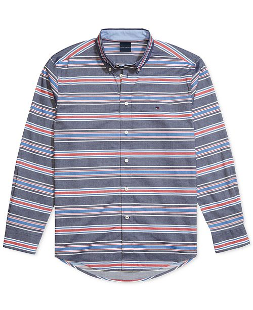 Tommy Hilfiger Men's Custom-Fit Marky Twill Stripe Stretch Magnetic Long Sleeve Button Down Shirt