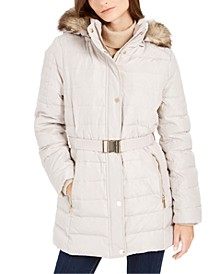 Petite Faux-Fur-Trim Hooded Down Puffer Coat, Created for Macy's