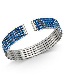INC Silver-Tone Rhinestone Cuff Bracelet, Created For Macy's