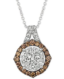 "Diamond Cluster 18"" Pendant Necklace (1-1/3 ct. t.w.)  in 14k White Gold"