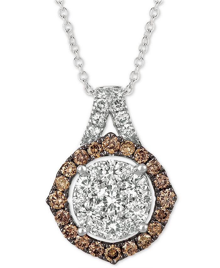"Le Vian - ® Diamond Cluster 18"" Pendant Necklace (1-1/3 ct. t.w.) in 14k White Gold"