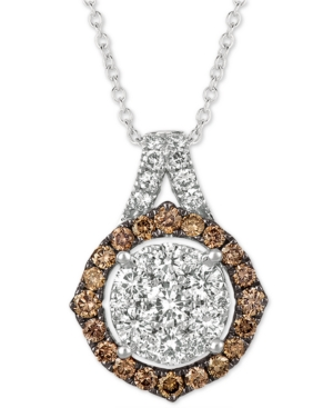 """Diamond Cluster 18"""" Pendant Necklace (1-1/3 ct. t.w.) in 14k White Gold"""