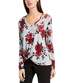 Juniors' Floral Cutout Sweater