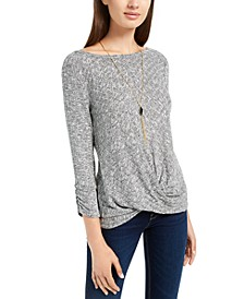 Juniors' Ribbed Twist-Front Sweater