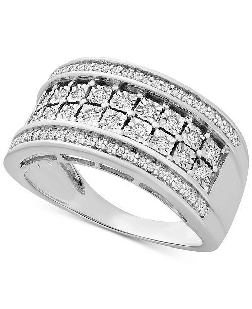Macy's Diamond Double Row Statement Band (1/3 ct. t.w.) in Sterling Silver