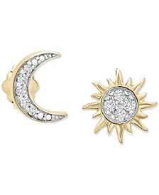Diamond Sun & Moon Mismatch Stud Earrings (1/10 ct. t.w.) in 14k Gold