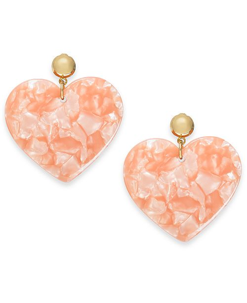 INC International Concepts INC Gold-Tone Marbleized Heart Drop Earrings, Created For Macy's