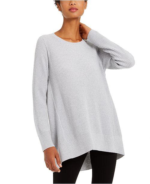 Eileen Fisher Crewneck Ribbed Tunic Sweater, Regular & Petites