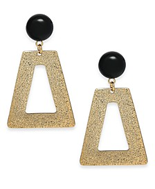 INC Gold-Tone Stone Textured Geometric Drop Earrings, Created For Macy's