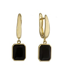Gold Tone Drop Earrings with Black Stones