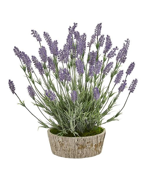 """Nearly Natural 20"""" Lavender Artificial Plant in Weathered Oak Planter"""